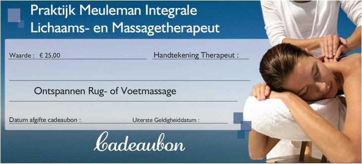 Cadeaubon van € 25,00 voor een Ontspannen rug of voetmassage, van 30 minuten